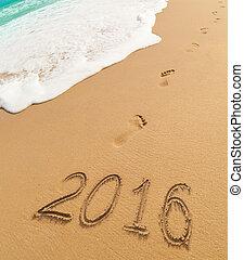 dígitos, escrito, arena, año, nuevo, 2016, playa