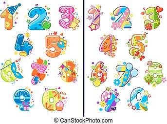 dígitos, infantil, caricatura, números
