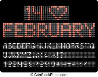 dígitos, informação, timeboard., conduzido, clip-art., vetorial, v, letras