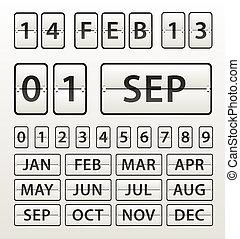 dígitos, jogo, diário, plástico