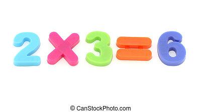 dígitos, juguete, colorido, números