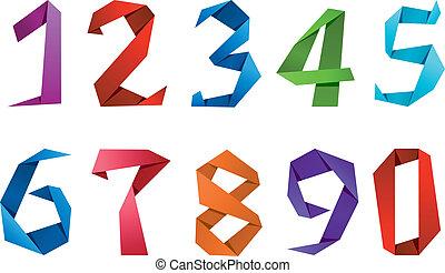 dígitos, origami, estilo, números