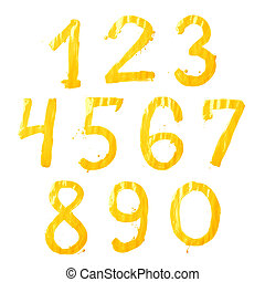 Dígitos, Pintura, Conjunto, dibujado, mano