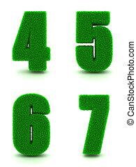 dígitos, -, set., 6, 5, 4, verde, 7, capim, 3d
