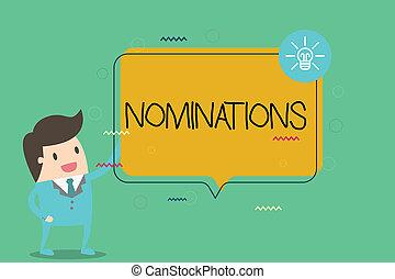 dílo, nota, showing, nominations., povolání, fotografie, showcasing, suggestions, o, někdo, nebo, cosi, jako, jeden, zaměstnání, postavení, nebo, cena