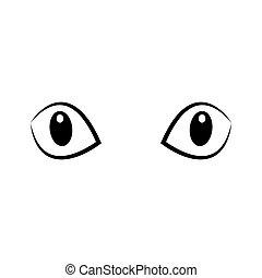 dírka, black-white, vektor, illustration., kočka