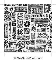 díszítés, etnikai, kézi munka, seamless, tervezés, motívum, -e