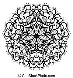 díszítés, mandala., pattern., kerek