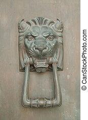 díszítés, oroszlán, ajtó, tervezés