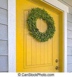 díszítő, ajtó, koszorú, sárga zöld, elülső
