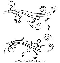 díszítő, hangjegy, zene