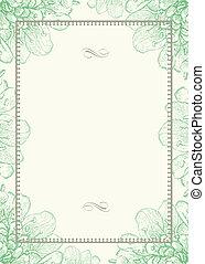 díszítő, keret, vektor, zöld háttér, virágos