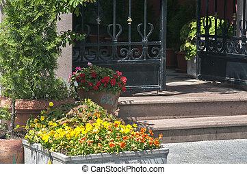 díszített, fém, kert kapu, részletez