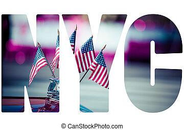 dísz, amerikai, 4, zászlók, közben, július