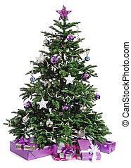 díszes, fa, karácsony