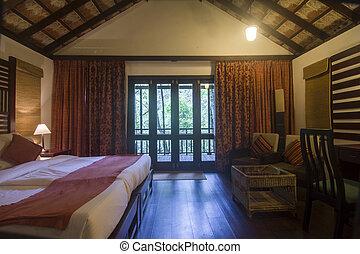 díszes, forrás, szoba, ágy, erkély
