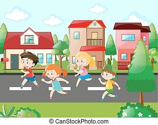 dítě běel, do, ta, okolí