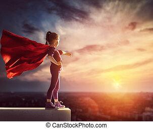 dítě, ertovat, superhero
