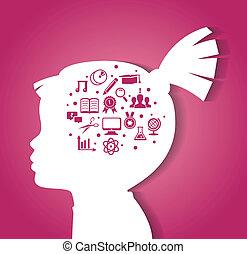 dítě, hlavička, s, školství, ikona
