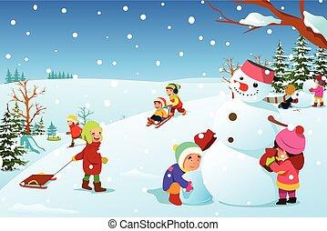 dítě hraní, mimo, během, zima, ilustrace