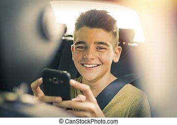 dítě, s, pohyblivý telefonovat, od vagón
