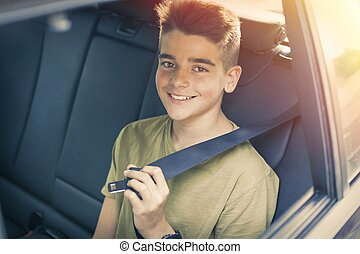 dítě, s, seatbelt, od vagón
