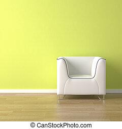 dívány, zöld, tervezés, belső, fehér