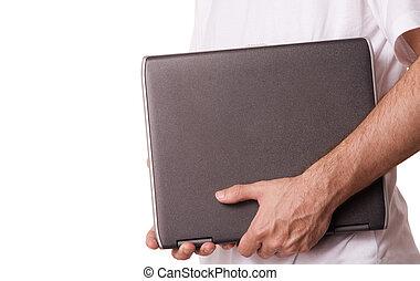 dívčí, s, počítač na klín