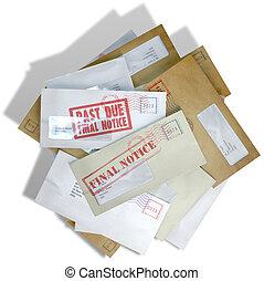 dívida, envelope, disperso, pilha
