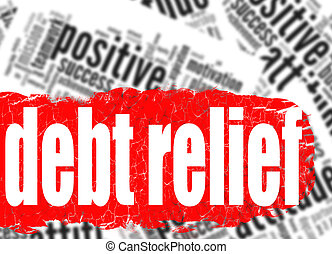 dívida, palavra, alívio, nuvem