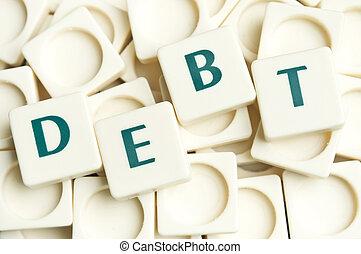dívida, palavra, feito, por, leter, pedaços