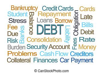 dívida, palavra, nuvem