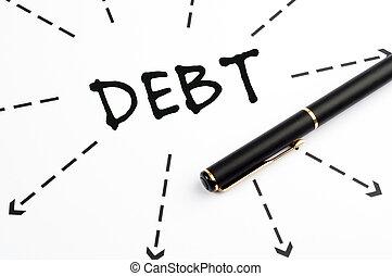 dívida, palavra, wih, setas, e, caneta