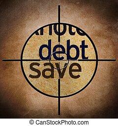dívida, salvar, alvo