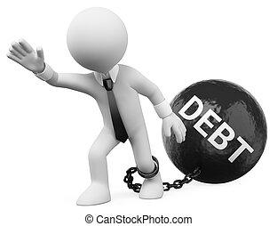 dívidas, homem negócios, branca, arrastar, seu, 3d, pessoas.