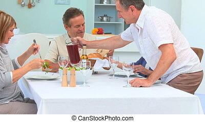 dîner, amis, entre, personnes agées