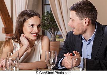 dîner, amour, couple, avoir