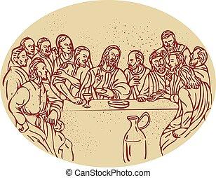 dîner, apôtres, dessin, dernier, jésus