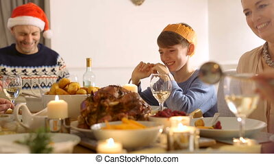 dîner, apprécier, noël