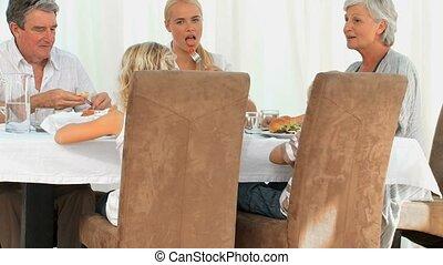 dîner, avoir, famille