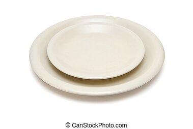 dîner, beige, soucoupe, isolé, plaque