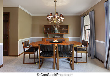 dîner, bronzage, murs, salle