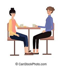 dîner, café, boire, salle, femmes