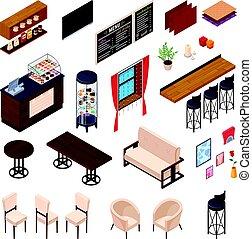 dîner, café, collection, meubles