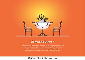dîner, concept, romantique