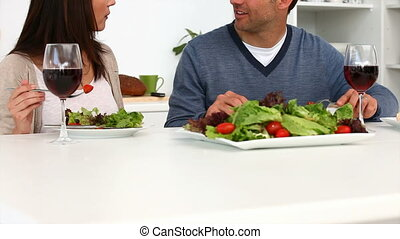 dîner, couple, romantique, avoir