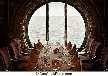 dîner, croisière bateau