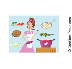 dîner, cuisine, femme foyer