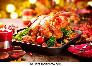 dîner, décoré, servi, clair, feuilles, turquie, table, automne, thanksgiving