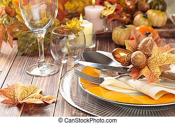 dîner, decoration., thanksgiving